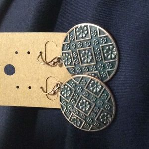 unknown Jewelry - Teal/Copper color round coin earrings.(3/$15)